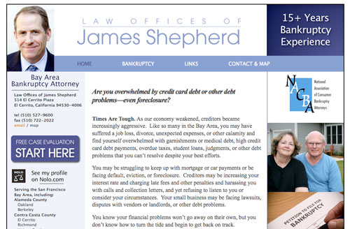 Jim Shephard Bankruptcy Law Website