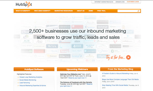 Call to Action on Hubspot Homepage