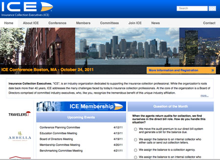 website redesign for the ICE non-profit association